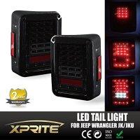 Xprite Smoke Lens Red LED Tail Light Assembly w/ Turn Signal & Back Up For Jeep Wrangler JK JKU 2007 - 2017