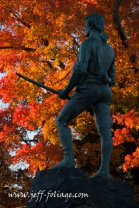 Lexington minuteman in Massachusetts fall colors