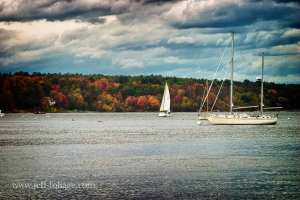 Sailboats on New Hampshire coastline, road trip ideas for your fall foliage vacation