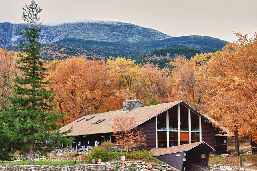 Joe Dodge Lodge in Pinkham notch surrounded by fall color
