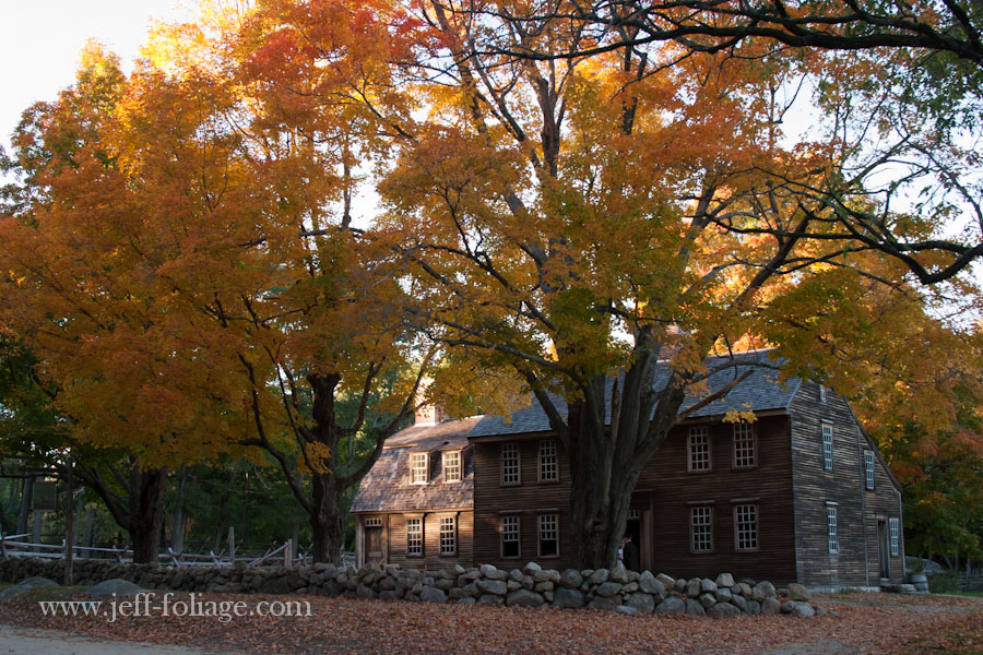 the Hartwell Tavern photographed on October 13 with yellow and orange fall foliage