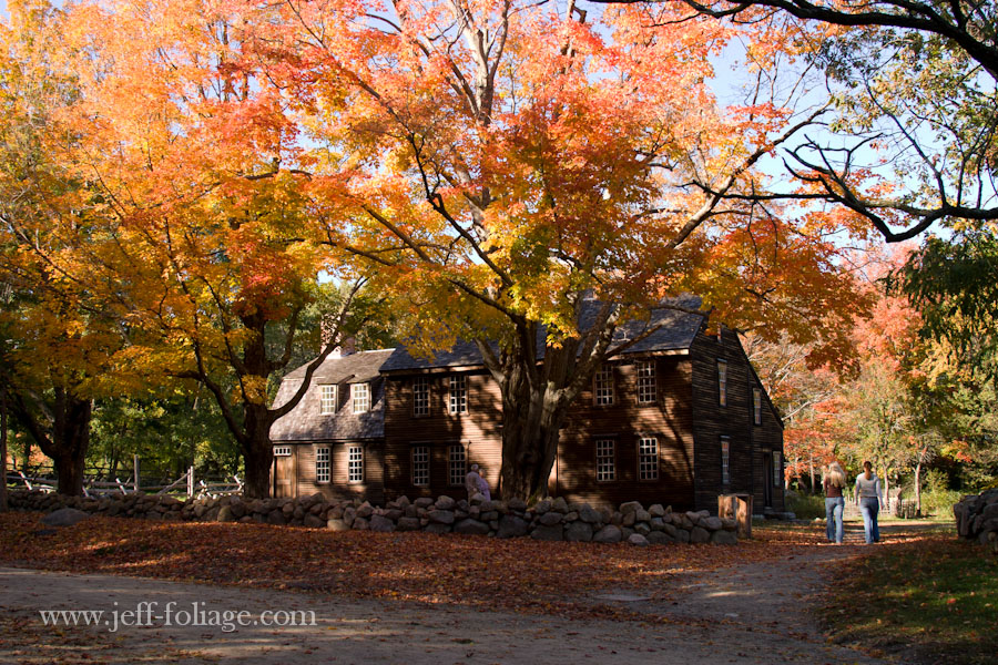 Hartwell Tavern photographed in October with fall foliage of orange and yellow photographed earlier in the day