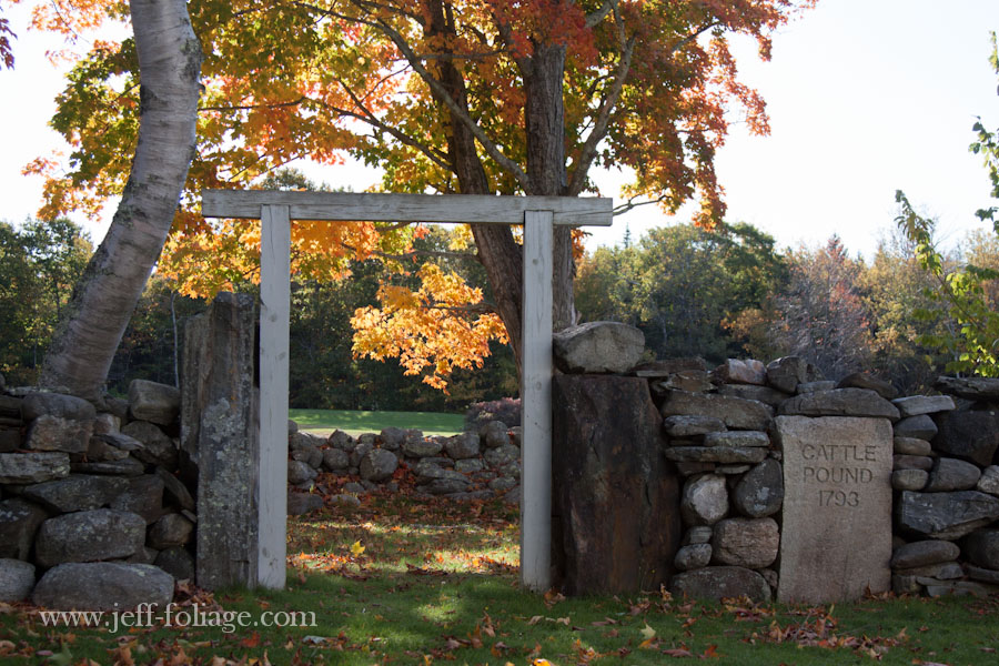 The Harpswell Cattle Pound in Maine fall foliage with a wooden entrance surrounded by a rock wall
