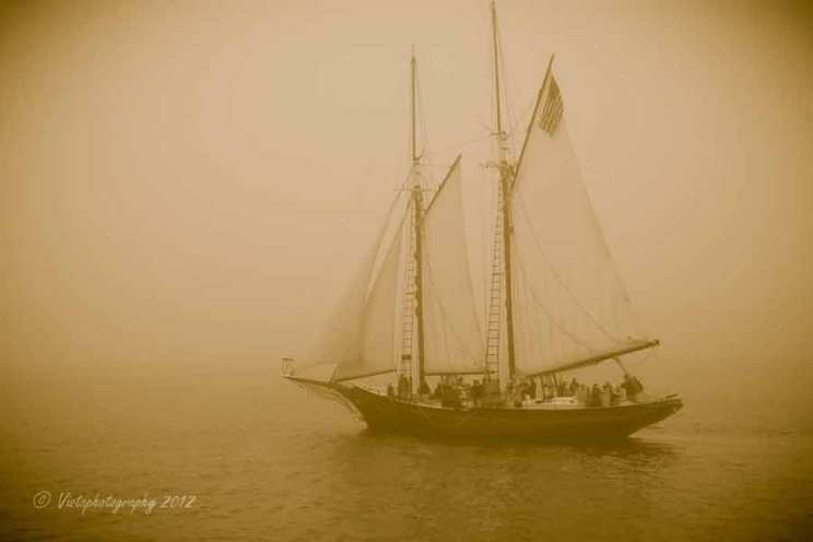 A foggy day with the Schooner Thomas E Lannon sailing out of Gloucester, MA