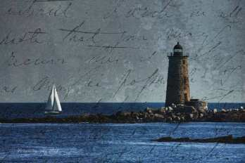 a white sailboat sails past whale back lighthouse of Portsmouth harbor