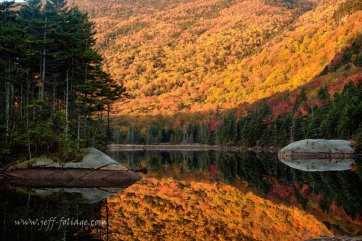 the morning sun rise above the peak foliage hills above the beaver pond which is north of Woodstock New Hampshire. The sun lit up the peak fall foliage on the walls of the bowl.
