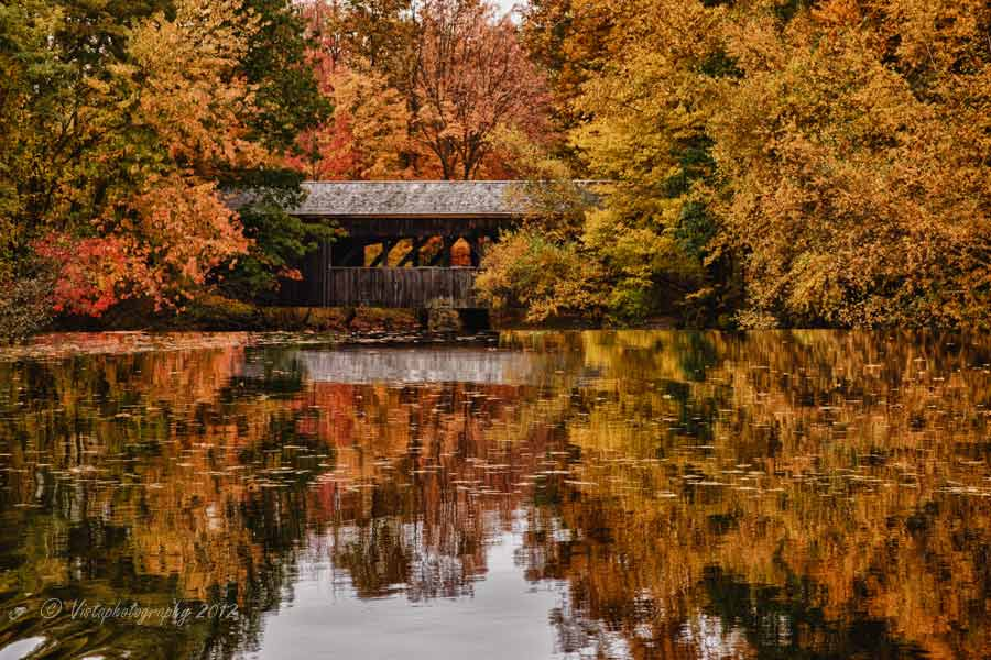 Peak fall colors at Covered bridge at Sturbridge Village in Massachusetts. #Vistaphotography #JeffFolger