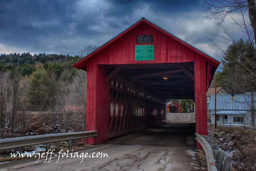 A view of the lower falls covered bridge from the Northfield bridge