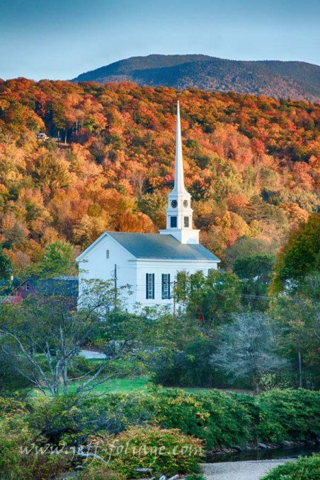 Stowe church set against fall colors to help with zone planning
