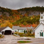 Stark New Hampshire covered bridge and church #Vistaphotography #JeffFolger