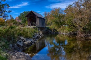 Martin Covered Bridge in New England fall foliage