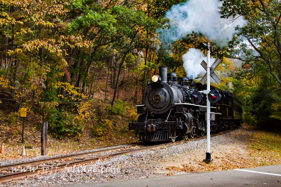 Steam train through the fall foliage