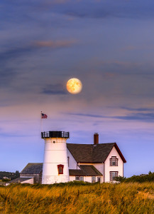 Moon Rise over Stage Harbor Light