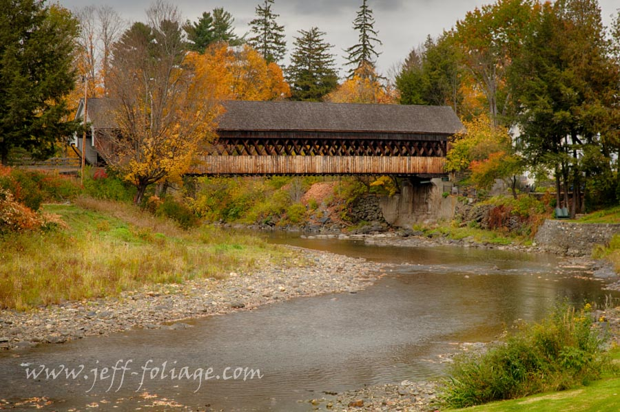 New England Photography of the Woodstock covered bridge also known as the Middle Bridge