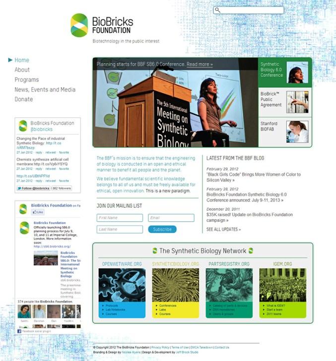 Screenshot: Biobricks Foundation 2012