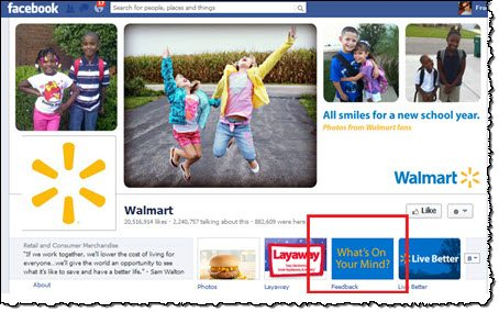 Walmart Facebook interaction