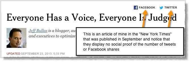 New York Times showing no social proof