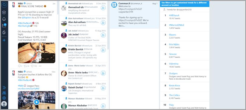 Outil de gestion Tweetdeck pour Twitter