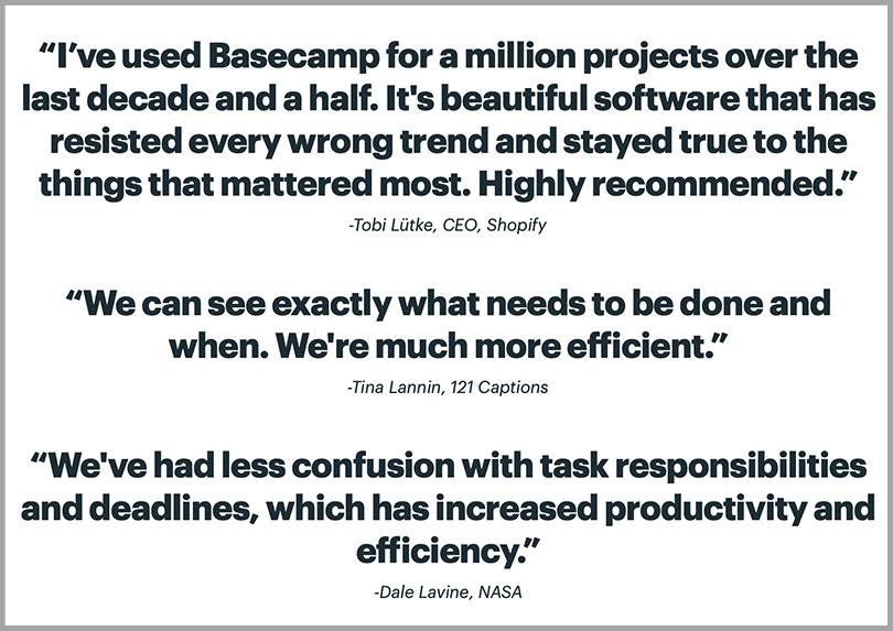 Basecamp's Testimonial to Establish Social Proof Persuasive Copywriting