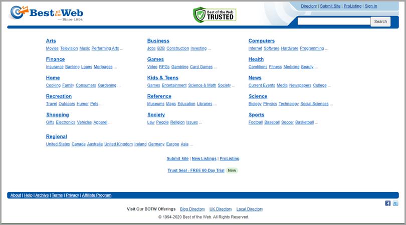 Best of the Web Website Directory Link Building Tips