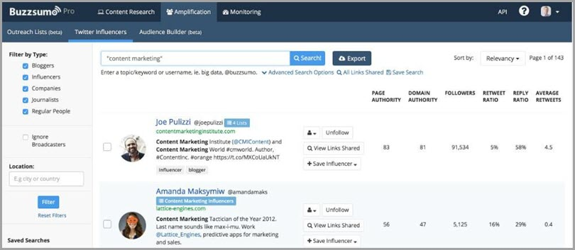 Buzzsumo Backlink Prospect and Influencer Finding Tool
