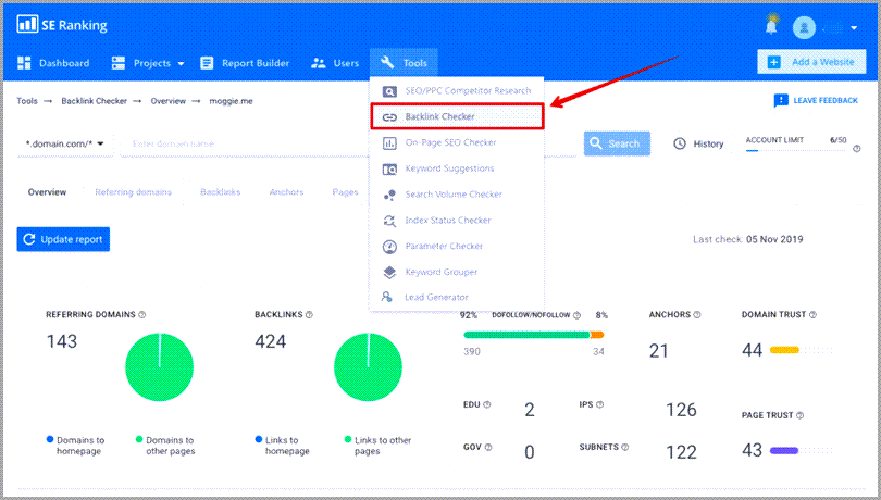 SEO Tasks Monitor Backlink Using SE Ranking Backlink Checker