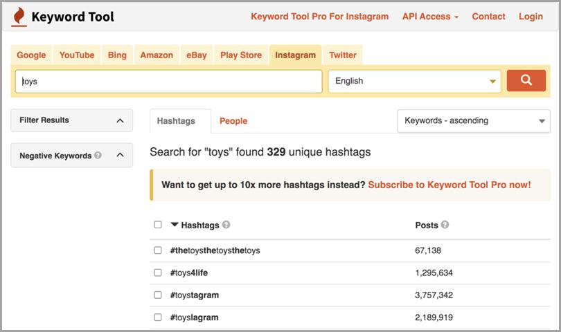 Outil de commerce électronique Instagram-Hashtags-Keyword-Tool