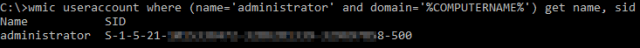 Output of WMIC to get local admin's SID