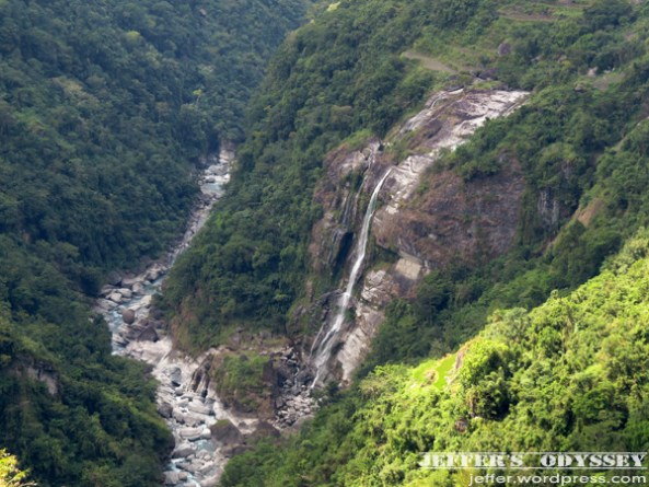 A glimpse of Colangi Falls, falling into Kibungan River, from afar.