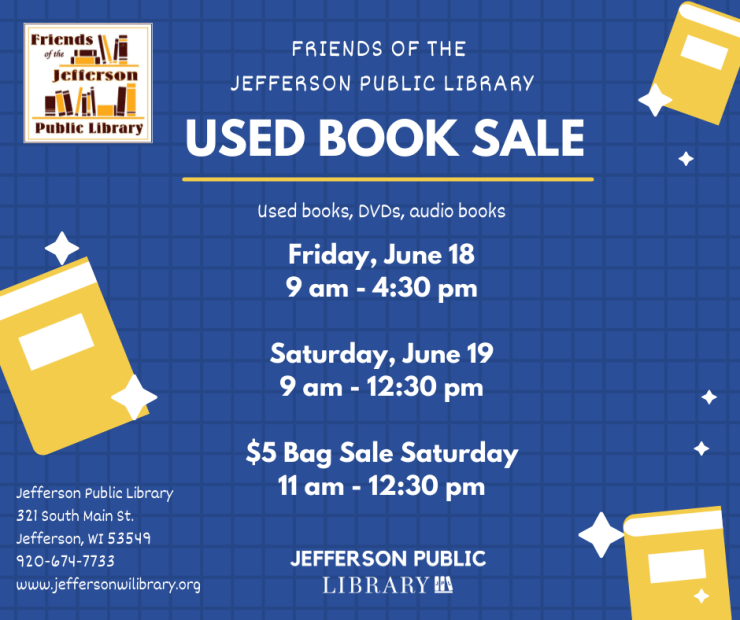 Used Book Sale Flyer June 18-19, 2021