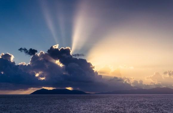 Sunrise over the British Virgin Islands