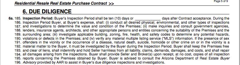 arizona real estate contract,arizona home purchase contract