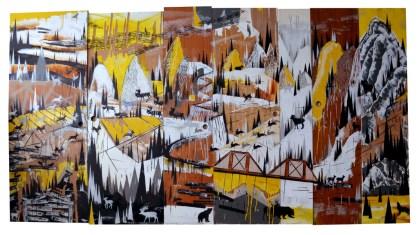 "Acrylic, latex, enamel and spray paint on gauged wood doors. 79.5"" x 148"""