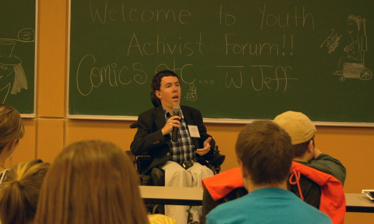 Jeff speaking at a youth activism forum