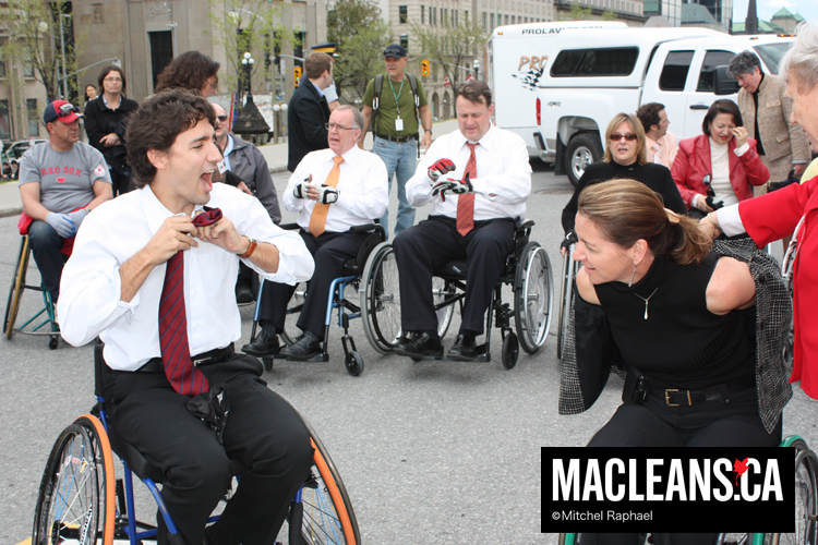 Image from Maclean's magainze of Justin Trudeau sitting in a wheelchair