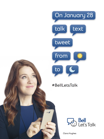 Photo of Clara Hughes on her cell phone promoting #LetsTalk day on January 28th