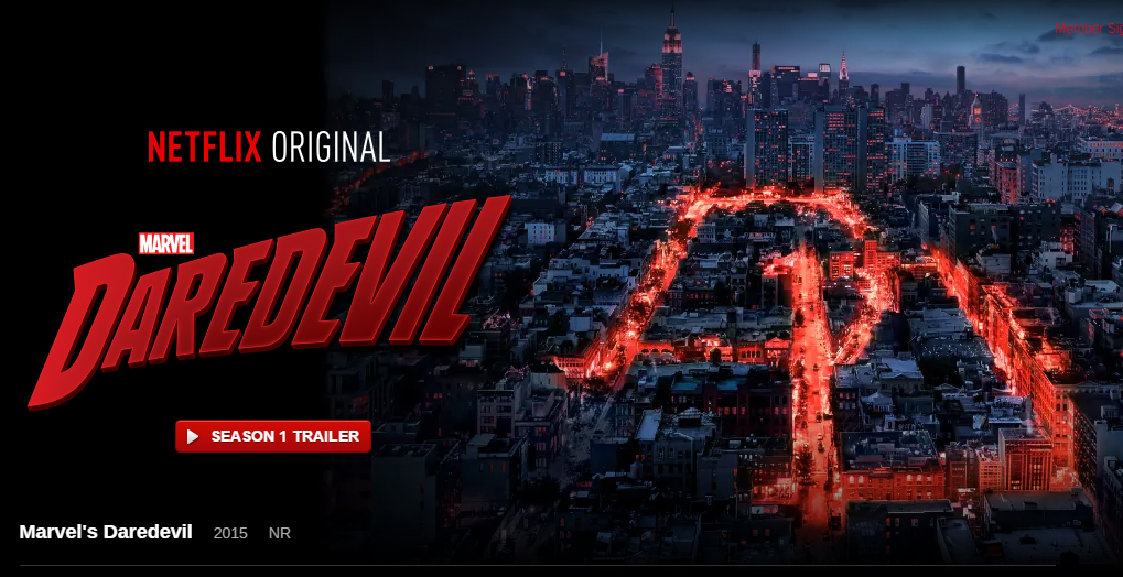 "Netflix Daredevil promo shot with street lights forming the ""DD"" logo"