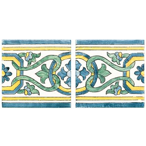 A blue / yellow terra cotta border/listello alentejo pattern tile by Jeffrey Court.