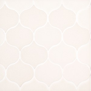 A white ceramic mosaic nu oasis tile by Jeffrey Court.