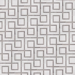 A white natural-stone mosaic hartford tile by Jeffrey Court.