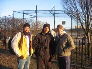 Theo Shybut, Jesse Salazar, Jeffrey Donenfeld before running the 2007 Bronx Half Marathon