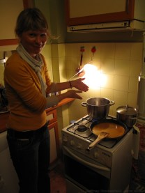 Doerta cooking up a delicious German dinner.