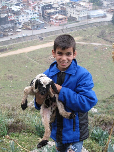 Local kid holding a lamb in Antakya. On this mountainside we met a shepard tending to hish flock. This kid hiked with us for a bit up onto the side of the mountain.