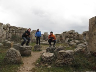Me, Steph and Kirk standing on ruined pilars at St. Simeon