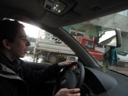 Me driving through flood waters in Samandag