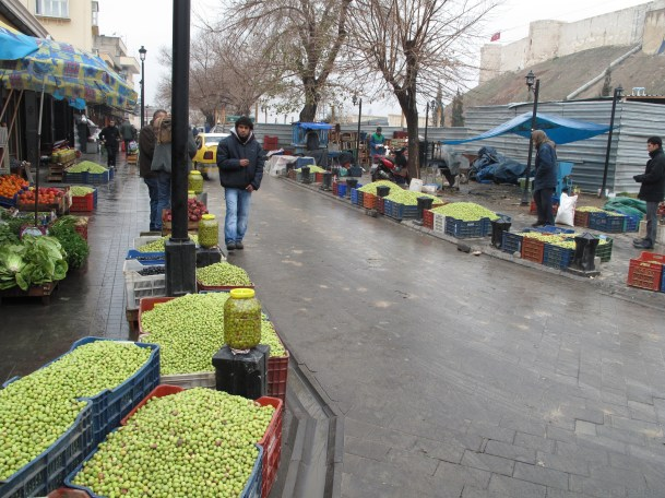 Olive vendors on the corner in Gaziantep