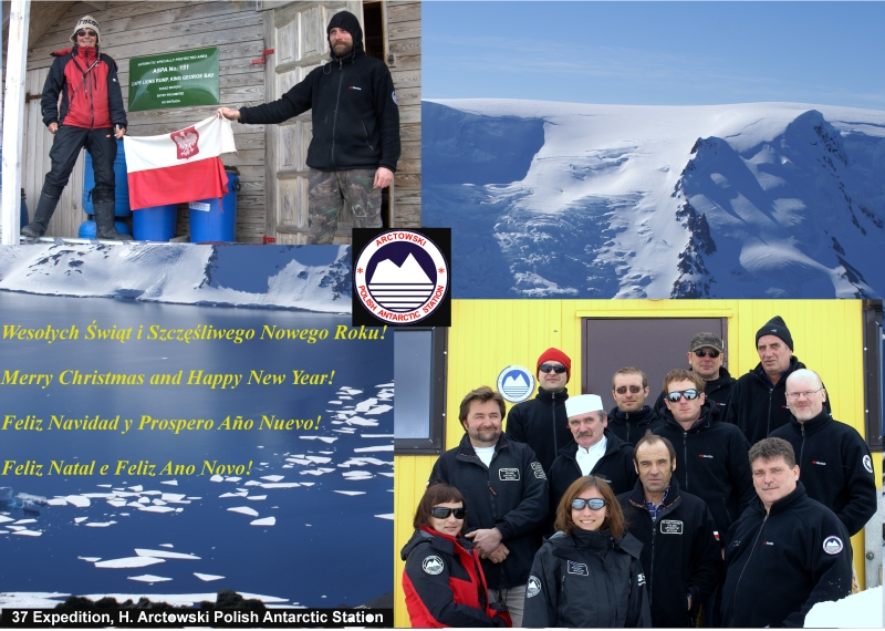 Henryk Arctowski Polish Antarctic Station Holiday Greeting Card 2012