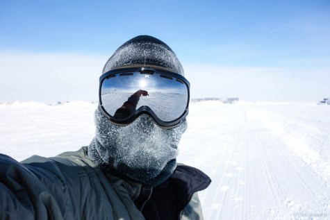 To run outside, full head protection must be worn, including a gaiter and goggles.