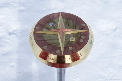 The 2013 Geographic South Pole Marker.