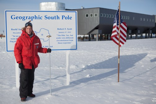 Me at the Geographic South Pole of the earth.